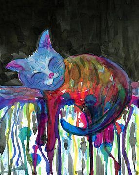 Ruhende Flüssigkeit Regenbogenkatze von Bianca Wisseloo