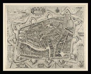 Alte Karte von Leeuwarden aus der Zeit um 1622
