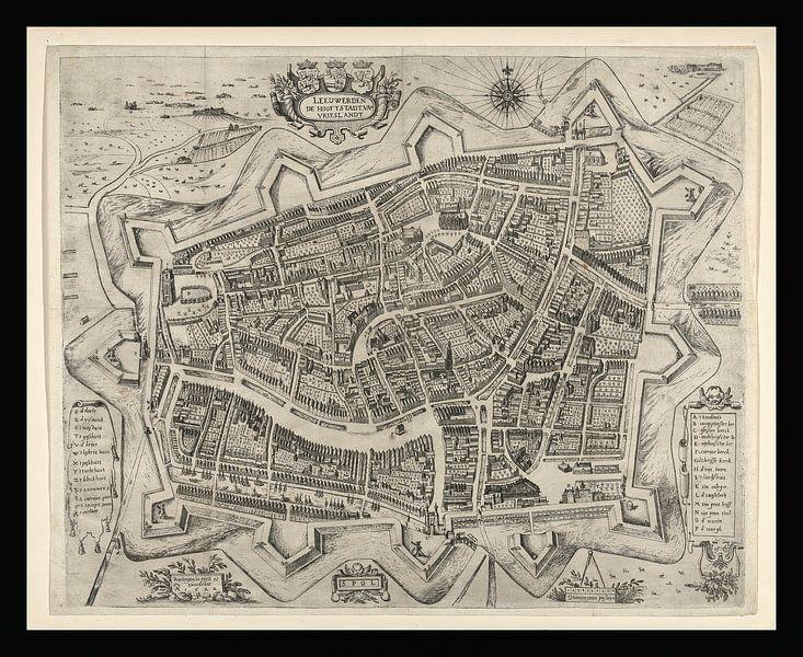 Alte Karte von Leeuwarden aus der Zeit um 1622 von Gert Hilbink
