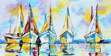 Boten in rustig vaarwater van Vrolijk Schilderij