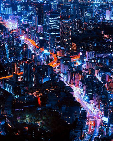 Tokio Infinity. Skyline van de stad van Origami Art