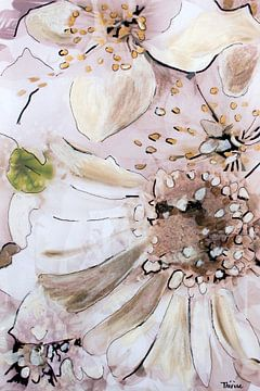Mischtechnik mit verschiedenen Blumen in weiß. von Therese Brals