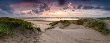 De duinen van Bloemendaal aan Zee bij zonsondergang van Emile Kaihatu