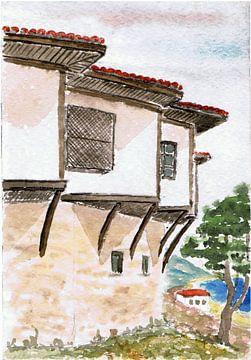 Huis aan zee in Griekenland - aquarel geschilderd door VK (Veit Kessler)
