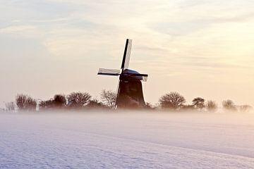 Traditionelle Mühle an einem nebligen Wintermorgen auf dem Lande in den Niederlanden von Nisangha Masselink