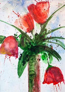 Rote Tulpen in der Vase von Klaus Heidecker