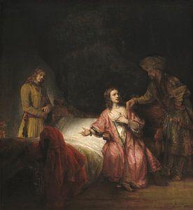 Potiphars vrouw klaagt Jozef aan bij haar man, Rembrandt