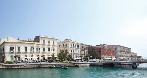 Alter Hafen mit alten Palästen, Ortygia, Ortigia, UNESCO Weltkulturerbe, Syrakus, Sizilien, Italien,