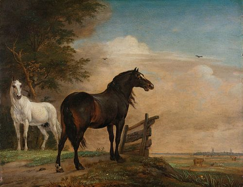Twee paarden in de wei bij een hek, Paulus Potter, 1649 van Meesterlijcke Meesters