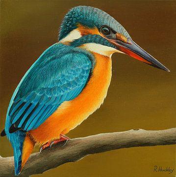 Ijsvogel portret schilderij van Russell Hinckley