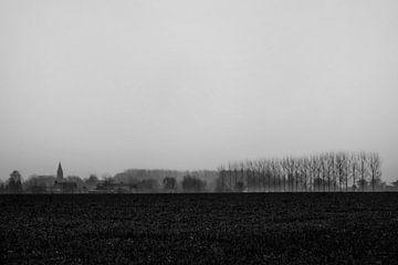 dorp in de regen van