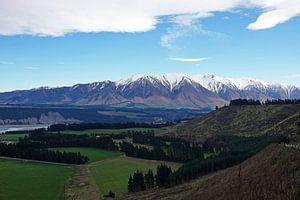 Landschap van Rakaia gorge op het zuidereiland van Nieuw Zeeland.