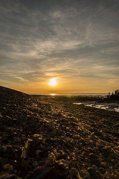 Zonsondergang waddenzee van Wolbert Erich