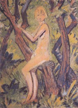 Nacktes Mädchen auf Baum, Otto Mueller - ca1922