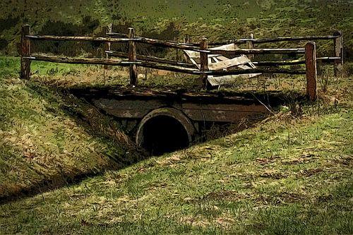 Kleine brug op het platteland van