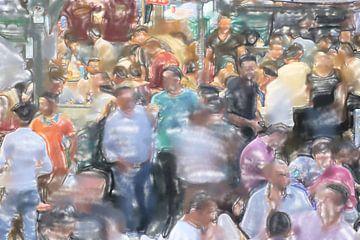 Menigte van mensen bij de ingang van de bazaar van Frank Heinz