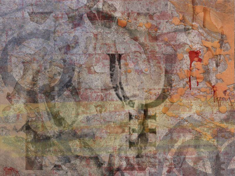 Abstract grafisch werk in bruintinten van Rietje Bulthuis