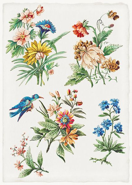 Blumenmuster mit einem blauen Vogel, Giacomo Cavenezia von Meesterlijcke Meesters