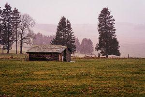 Een verlaten schuur op de heuvels van de Ardennen in België.