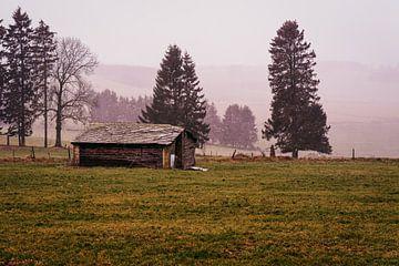 Een verlaten schuur op de heuvels van de Ardennen in België. van Ineke Mighorst