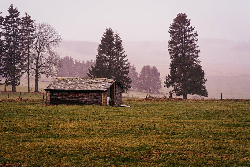 Een verlaten schuur op de heuvels van de Ardennen in België. von Ineke Mighorst