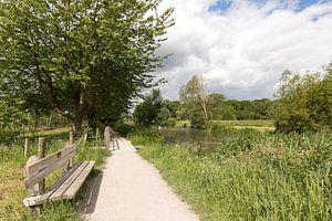 Bankje langs het zonnige jaagpad langs de Kromme Rijn