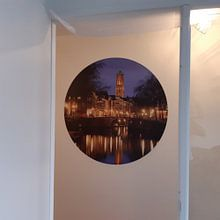 Klantfoto: Zicht op Zandbrug en Oudegracht in Utrecht vanaf de Bemuurde Weerd van Donker Utrecht, als ronde print