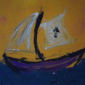 Sailing ship in the storm sur Amber van den Broek