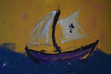 Zeilboot in woeste storm van Amber van den Broek