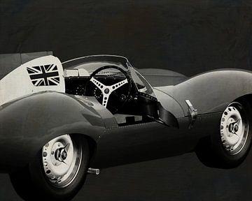 Jaguar Type D 1956 B&W open deur van Jan Keteleer