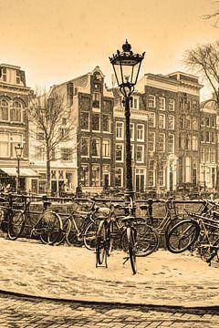 Binnenstad van Amsterdam Nederland Sepia van Hendrik-Jan Kornelis