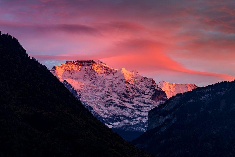 Jungfrau vanuit Interlaken in het avondlicht van Hidde Hageman