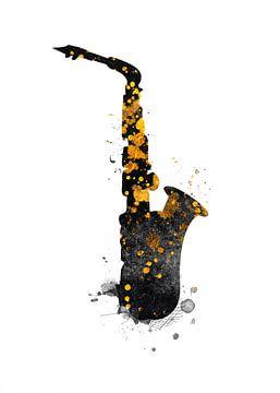 Saxofoon 1 muziekkunst goud en zwart #saxofoon #muziek van JBJart Justyna Jaszke