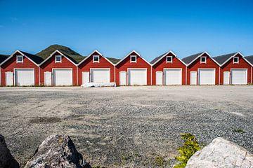 Noorse vissershuisjes op een rij op de Lofoten, fotoprint van Manja Herrebrugh - Outdoor by Manja
