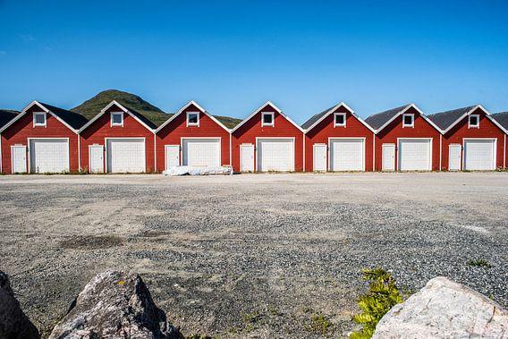 Noorse vissershuisjes op een rij op de Lofoten, fotoprint