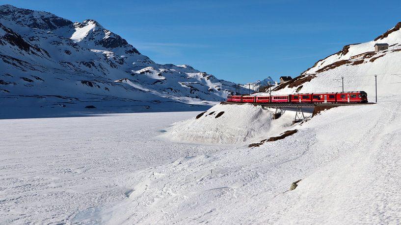 Rhätische Bahn - Berninapas - Graubünden - Zwitserland van Felina Photography