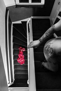 de trap op. van