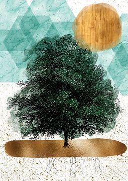 Baum mit Wurzeln von Jadzia Klimkiewicz