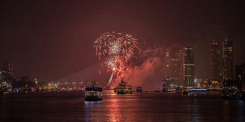 Erasmus Bridge and fireworks in Rotterdam