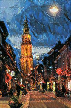 Martinitoren vanaf Oosterstraat in de stijl van Soutine van Slimme Kunst