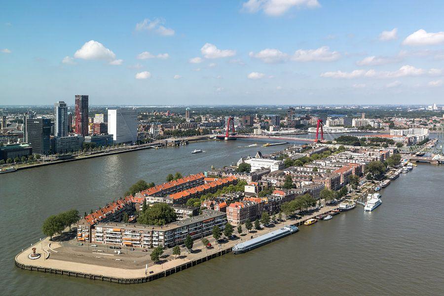Het uitzicht op het Noordereiland in Rotterdam