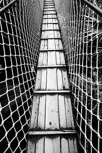 Suspension Bridge zwart-wit beeld