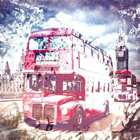 City-Art LONDON Red Buses on Westminster Bridge van Melanie Viola