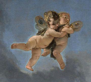 Giambattista Tiepolo, Zwei Putten (Engel), Teil von Der Triumph von Zephyrus und Flora - 1732 von Atelier Liesjes
