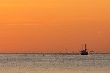 Cotre de pêche au coucher du soleil sur la mer du Nord pendant l'heure dorée sur Marco de Jong