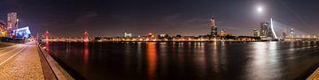 Erasmusbrug en Willemsbrug met volle maan van Daan Kloeg