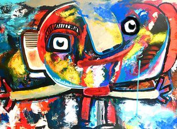 Heitere Arbeit im Cobra-Stil eines Mannes von Nicole Habets