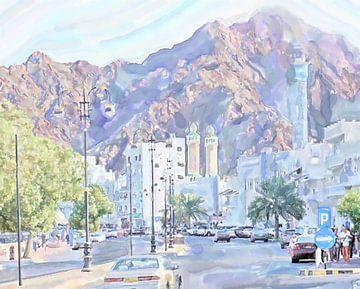 Route principale au port de Mascate, Oman sur Frank Heinz