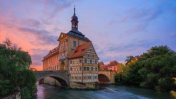 Zonsondergang bij het oude stadhuis in Bamberg, Beieren, Duitsland van Henk Meijer Photography