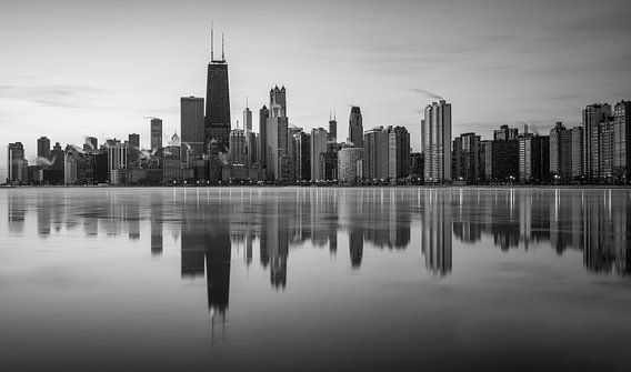 Chicago skyline, black & white van Reinier Snijders